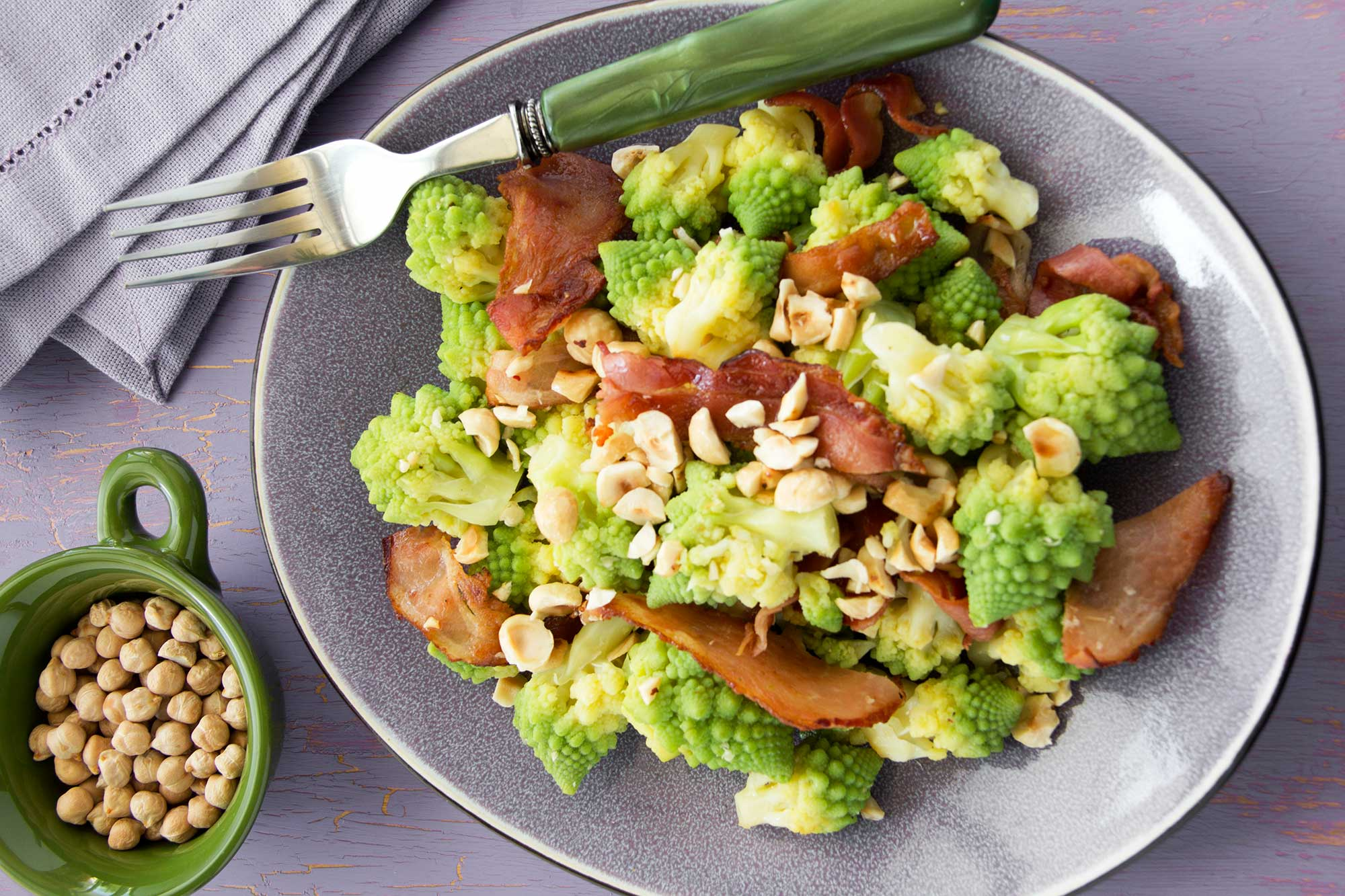 Romanesco Salad with Bacon and Hazelnuts