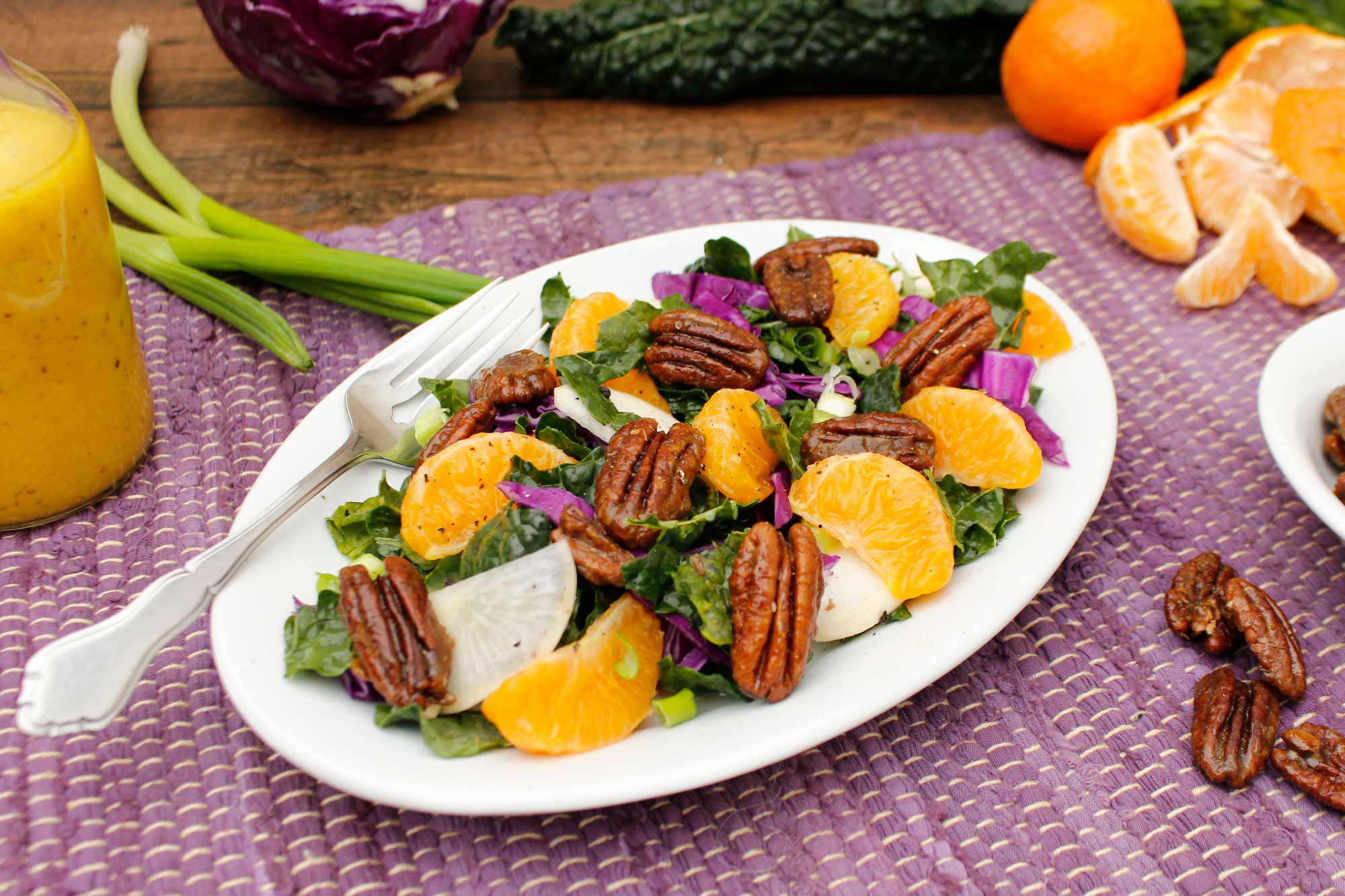Mandarin Orange and Kale Salad with Candied Pecans