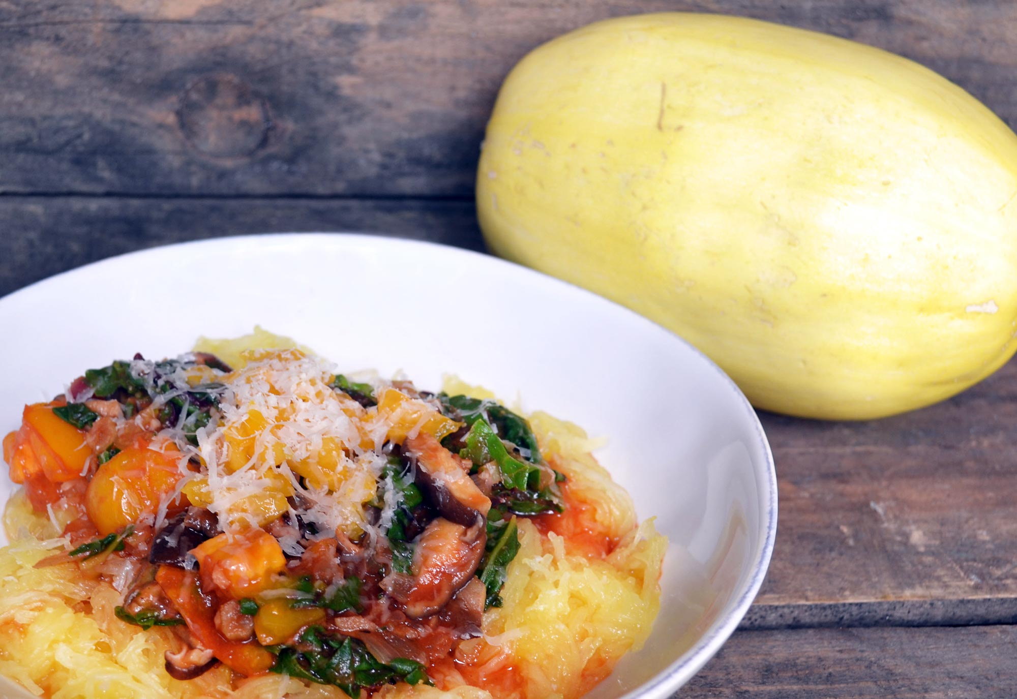 Spaghetti Squash with Shiitakes, Tomato Sauce and Chard