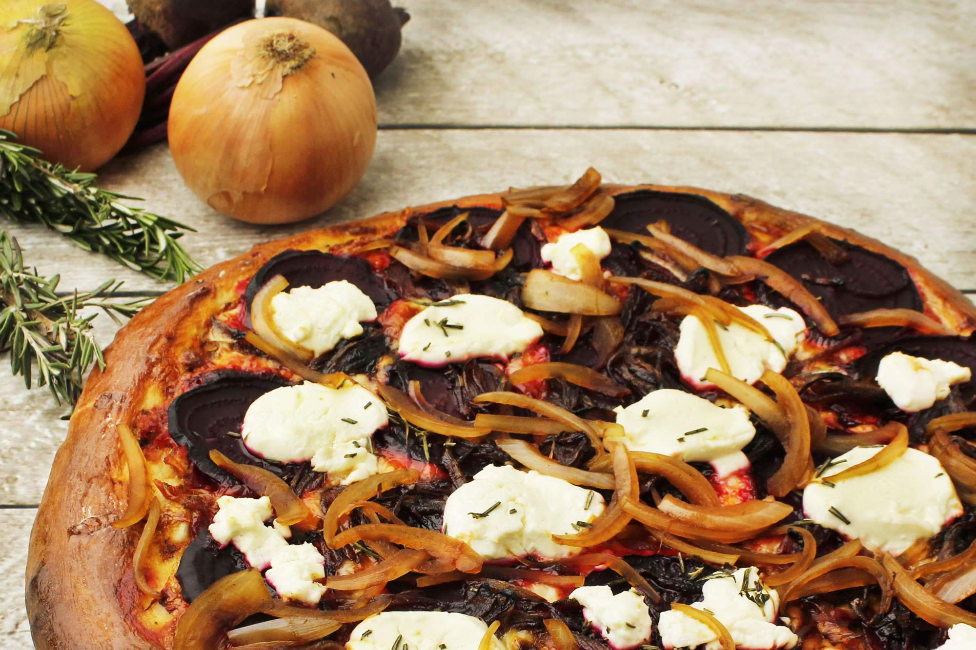Rustic Beet and Caramelized Onion Pizza